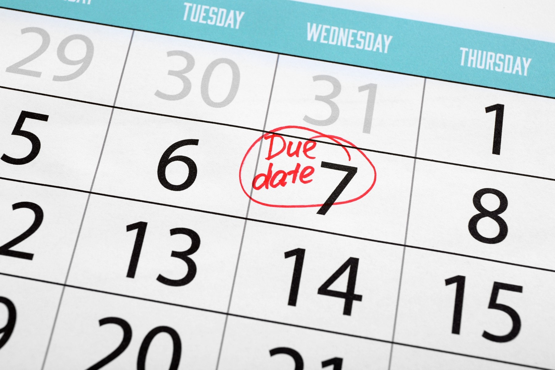 Due date written and circled in calendar, close up
